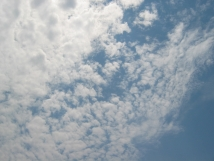 image of summertime altocumulus clouds