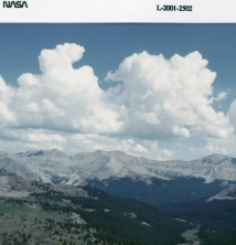 image of cumulus clouds over the Rocky Mountains